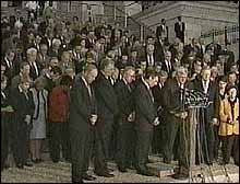 Members of Congress gathered on the steps of the Capitol to show the nation their unity and sang 