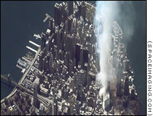 World Trade Center burns in this IKONOS satellite picture.